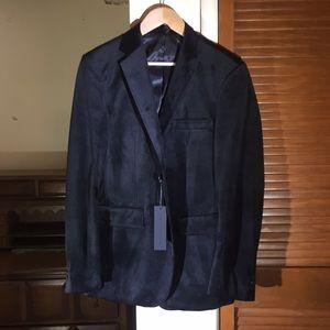 Report Black Velour Two Button Suit Blazer